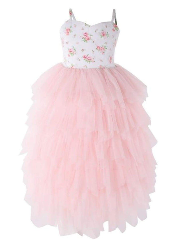 Girls Floral Sleeveless Tiered Tutu Casual Maxi Dress - pink / 12M - Girls Spring Dressy Dress