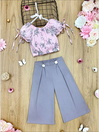 Girls Floral Tie Sleeve Crop Top and Buttoned Palazzo Pants Set - Grey / 2T/3T - Girls Spring Casual Set
