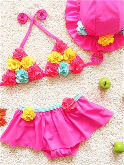 Girls Floral Tie Up Skirted Two Piece Swimsuit With Matching Hat - Pink / 2T - Girls Two Piece Swimsuit