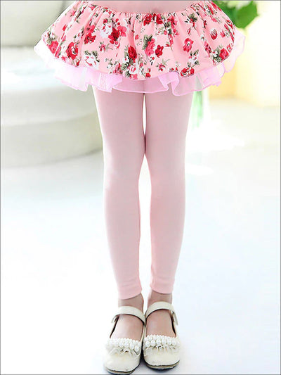 Girls Floral Tiered Tutu Skirt Leggings - Girls Leggings