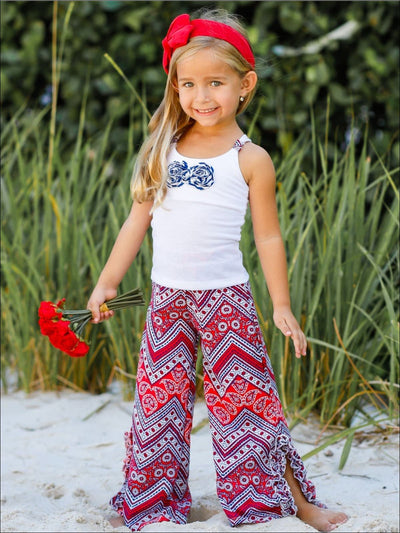 Girls Floral Trimmed Racerback Tank & Ruffled Palazzo Pants Set - Girls Spring Casual Set