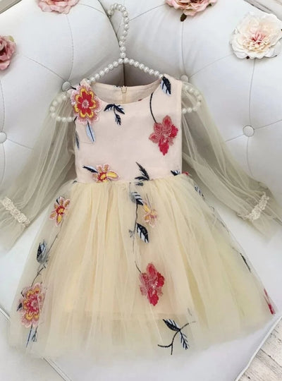 Girls Floral Tulle Fairy Dress - Peach / 7Y - Girls Spring Dressy Dress