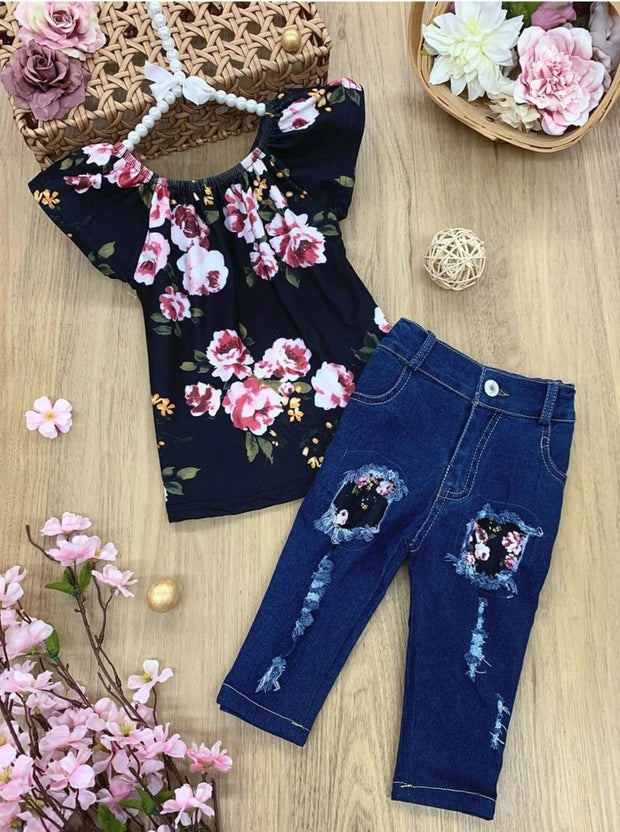 Girls Floral Tunic and Patched Denim Capri Set - Black / 2T - Girls Spring Casual Set