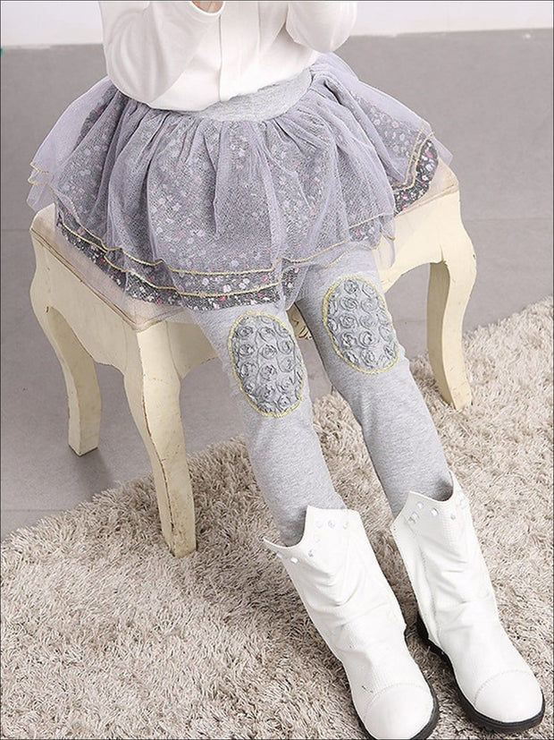 Girls Floral Tutu Skirt Leggings - Grey / 24M - Girls Leggings