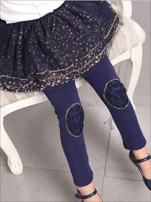 Girls Floral Tutu Skirt Leggings - Navy / 24M - Girls Leggings