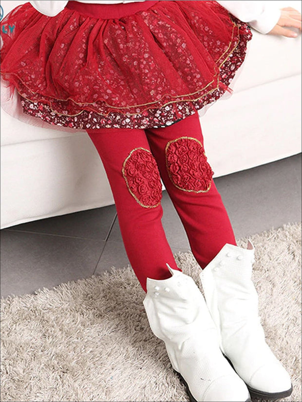 Girls Floral Tutu Skirt Leggings - Red / 24M - Girls Leggings