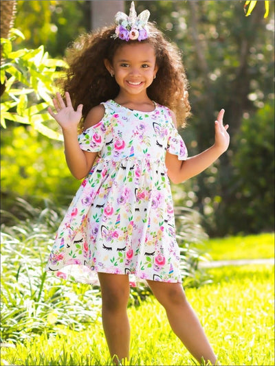 Girls Floral Unicorn Print A-Line Cold Off the Shoulder Dress - Girls Spring Casual Dress
