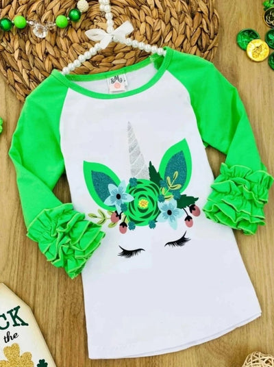 Girls Floral Unicorn Ruffled Top - Green / 2T - Girls St. Patricks Top
