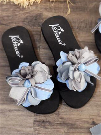Girls Flower and Bow Embellished Black Flip Flops - Girls Slides