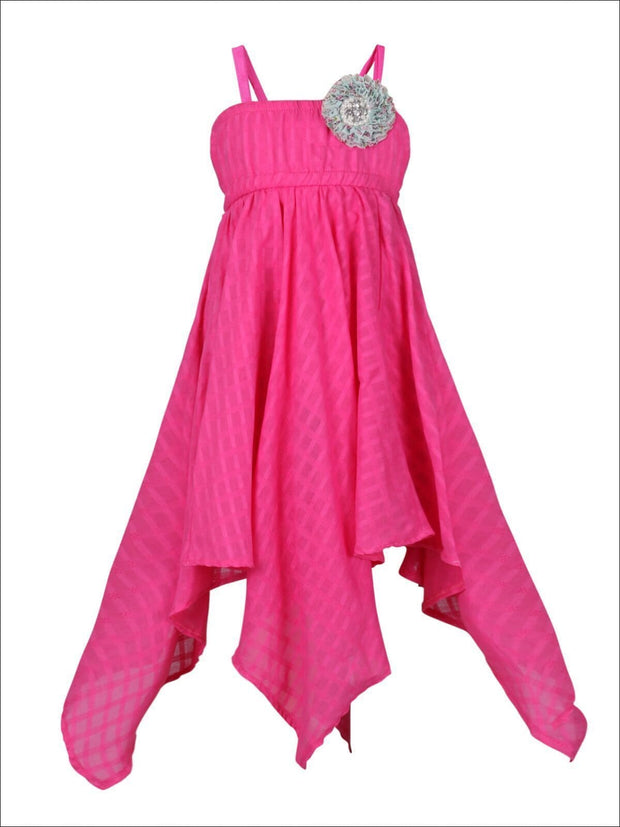 Girls Flower Applique Hankerchief Dress - Fuchsia / 2T/3T - Girls Spring Casual Dress
