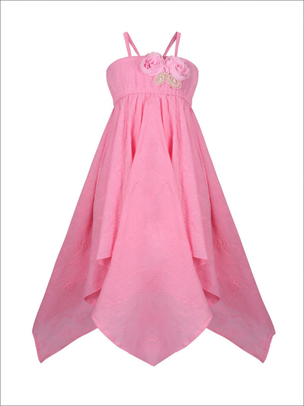 Girls Flower Applique Hankerchief Dress - Pink / 2T/3T - Girls Spring Casual Dress