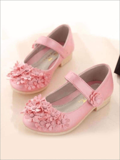 Girls Flower Applique Mary Jane Flats - Girls Flats