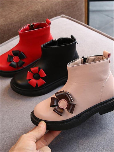 Girls Flower Applique Synthetic Leather Ankle Booties - Girls Boots
