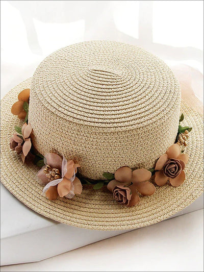 Girls Flower Banded Straw Hat - Beige / One Size - Girls Hats