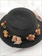 Girls Flower Banded Straw Hat - Black / One Size - Girls Hats