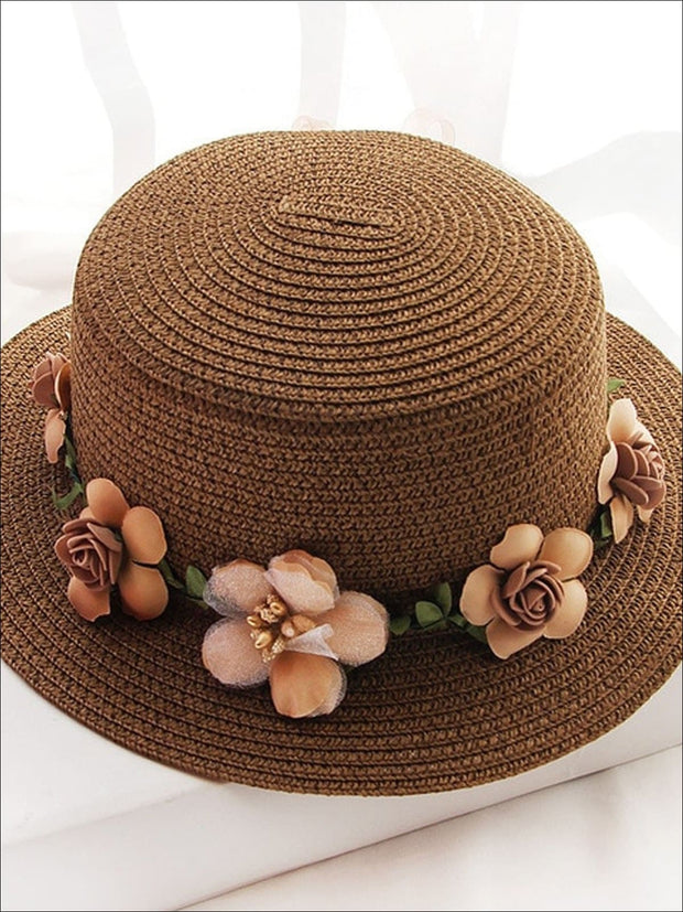 Girls Flower Banded Straw Hat - Brown / One Size - Girls Hats