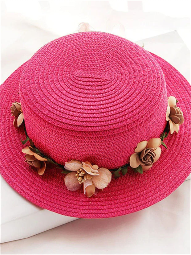Girls Flower Banded Straw Hat - Hot Pink / One Size - Girls Hats