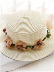 Girls Flower Banded Straw Hat - Ivory / One Size - Girls Hats