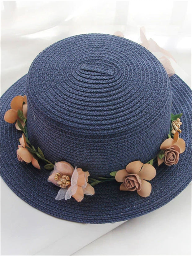Girls Flower Banded Straw Hat - Navy / One Size - Girls Hats