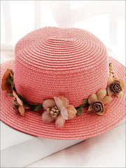 Girls Flower Banded Straw Hat - Peach / One Size - Girls Hats
