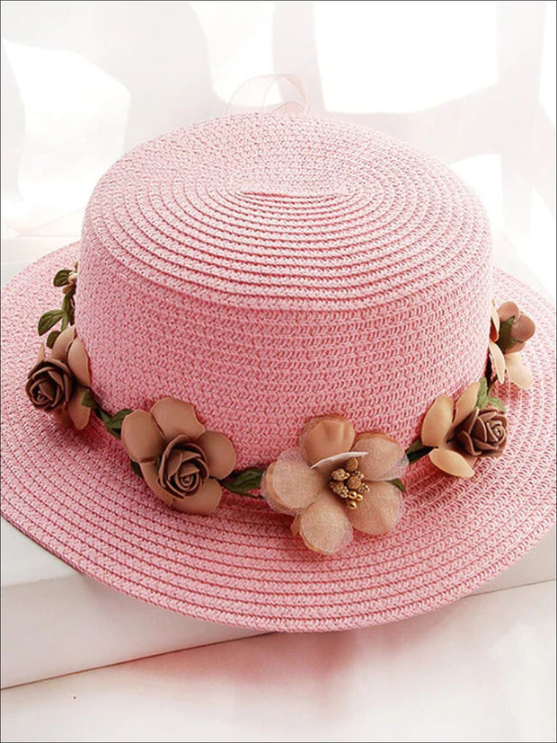 Girls Flower Banded Straw Hat - Pink / One Size - Girls Hats