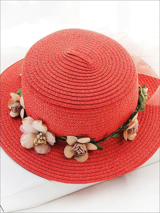 Girls Flower Banded Straw Hat - Red / One Size - Girls Hats