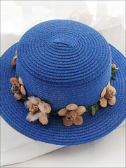 Girls Flower Banded Straw Hat - Royal Blue / One Size - Girls Hats