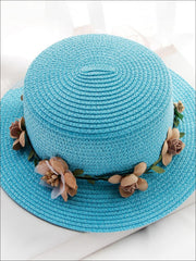 Girls Flower Banded Straw Hat - Sky Blue / One Size - Girls Hats