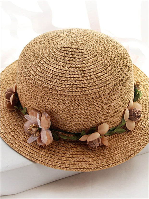 Girls Flower Banded Straw Hat - Tan / One Size - Girls Hats