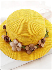 Girls Flower Banded Straw Hat - Yellow / One Size - Girls Hats