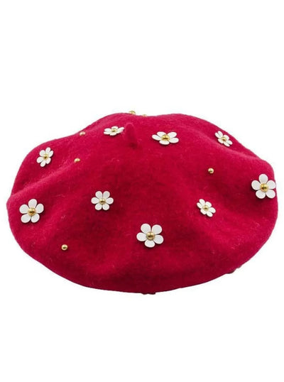 Girls Flower Embellished Parisian Style Wool Beret - Red - Girls Berets