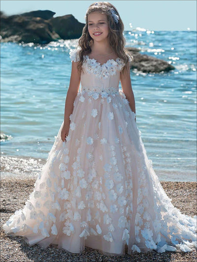 Girls Flower Embellished Princess Gown - Pink / 2T - Girls Gowns