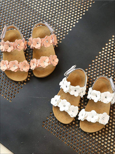 Girls Flower Embellished Sandals - Girls Sandals