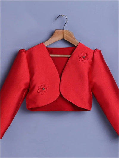 Girls Flower Embellished Satin Bolero - Red / 3T - Girls Jacket