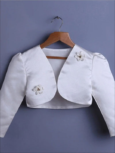 Girls Flower Embellished Satin Bolero - White / 3T - Girls Jacket