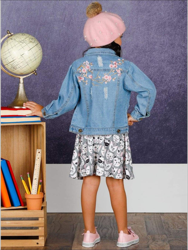 Girls Flower Embroidered Distressed Denim Jacket - Girls Jacket
