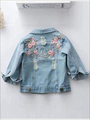 Girls Flower Embroidered Distressed Denim Jacket - 5 - Girls Jacket