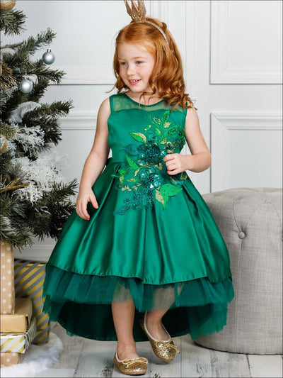 Girls Flower Embroidered Hi Low Holiday Dress (3 Color Options) - Green / 2T - Girls Fall Dressy Dress