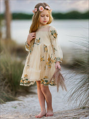 Girls Flower Embroidered Lace Dress - Girls Spring Dressy Dress