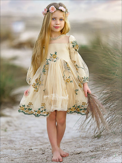 Girls Flower Embroidered Lace Dress - Yellow / 8Y - Girls Spring Dressy Dress