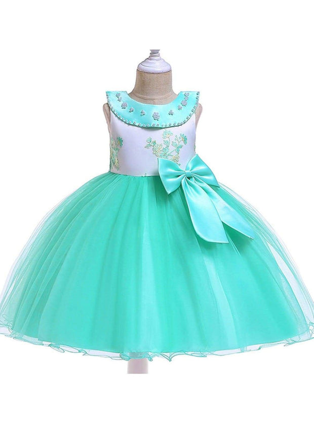 Girls Flower Embroidered Pearl Beaded Round Collar Bow Tulle Dress - Green / 3T - Girls Spring Dressy Dress