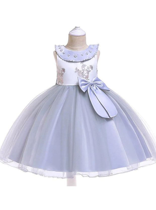 Girls Flower Embroidered Pearl Beaded Round Collar Bow Tulle Dress - Grey / 3T - Girls Spring Dressy Dress