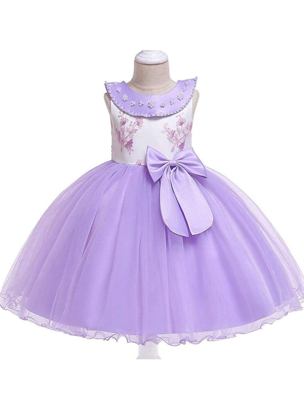 Girls Flower Embroidered Pearl Beaded Round Collar Bow Tulle Dress - Purple / 3T - Girls Spring Dressy Dress