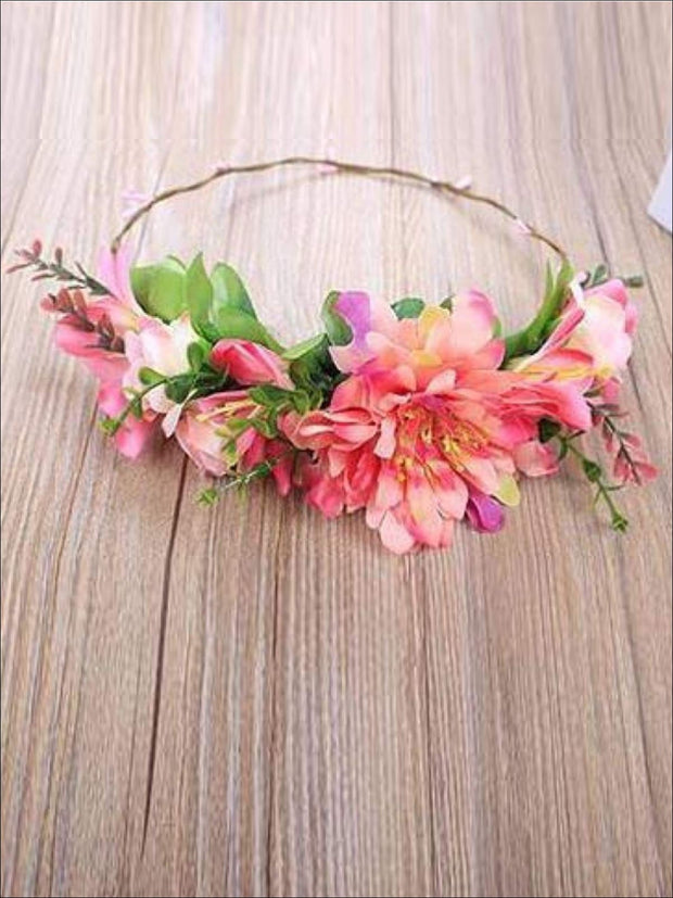 Girls Flower Halo - Coral / One - Hair Accessories