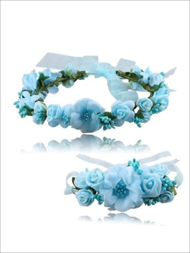 Girls Flower Halo & Hand Band Set - Blue / One - Hair Accessories