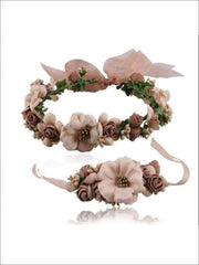 Girls Flower Halo & Hand Band Set - Brown / One - Hair Accessories