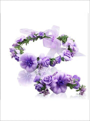 Girls Flower Halo & Hand Band Set - Lavender / One - Hair Accessories