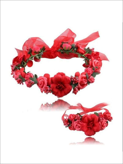 Girls Flower Halo & Hand Band Set - Red / One - Hair Accessories