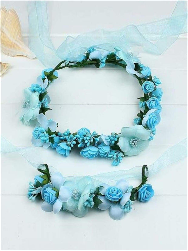 Girls Flower Halo Set - Blue / One - Flower Halo