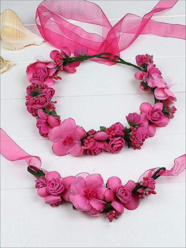 Girls Flower Halo Set - Hot Pink / One - Flower Halo